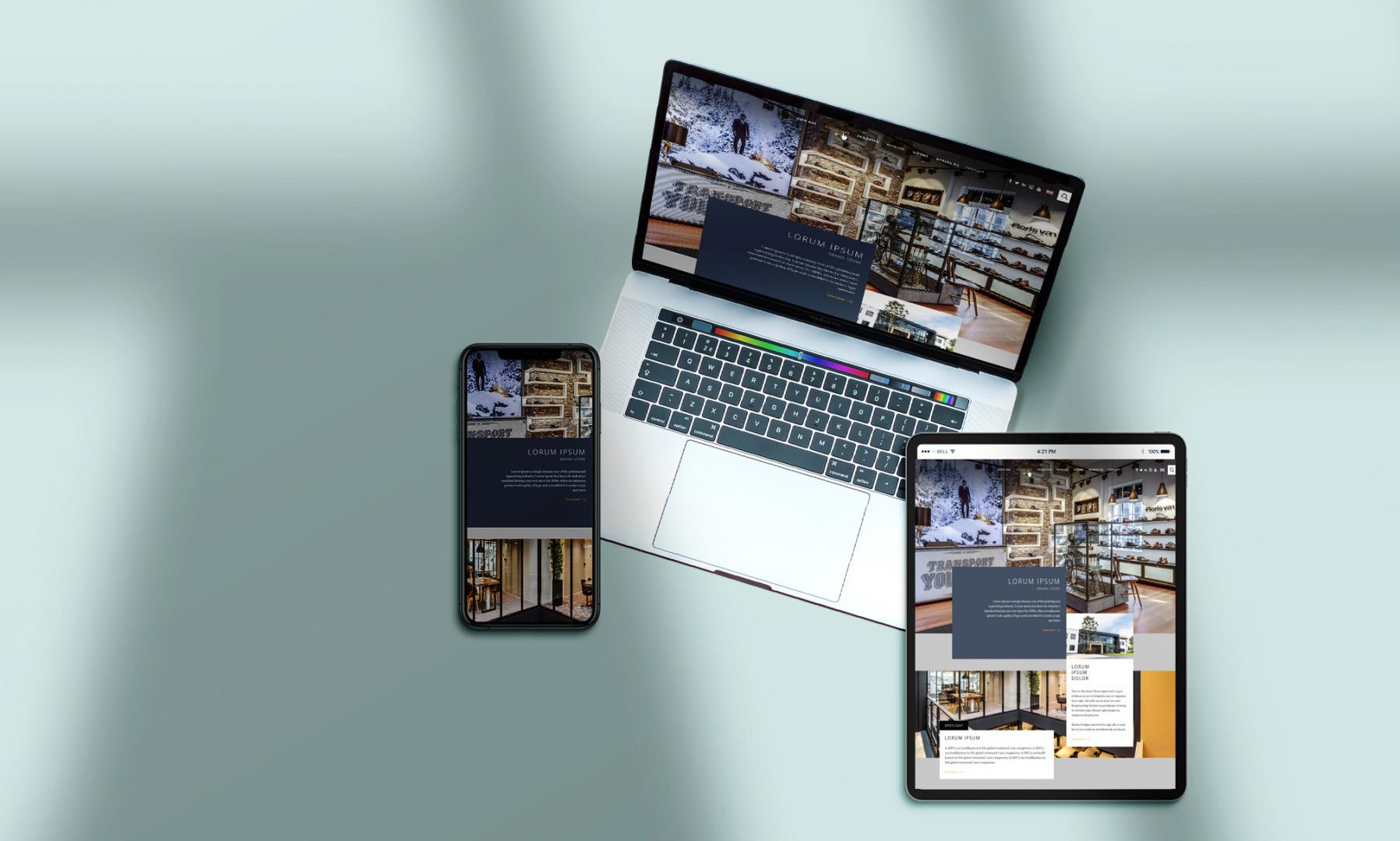 Website maatwerk is voor unieke websites en merkbeleving, zichtbaar op alle devices zoals hier afgebeeld, laptop, Ipad en Iphone